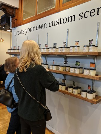 The Candle Fusion Studio : One of the walls of different scents to choose from