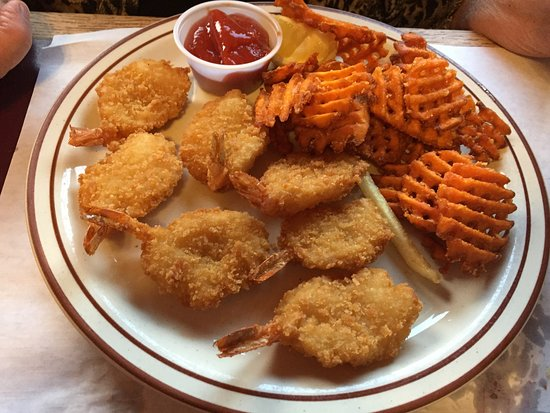 Schererville, IN: Fried Shrimp with Cocktail sauce & Sweet Potato Waffle Fries.