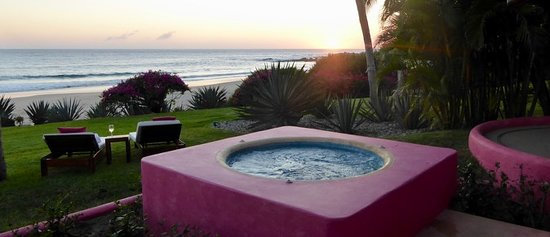 Las Alamandas Resort: This is the view from the patio of our beach front casa. I left my wine glass only long enough to snap this pic.