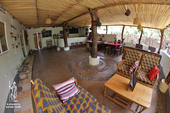 Inside dining area of Karamoja Safari Camp, Accommodation hotel in Moroto Uganda.