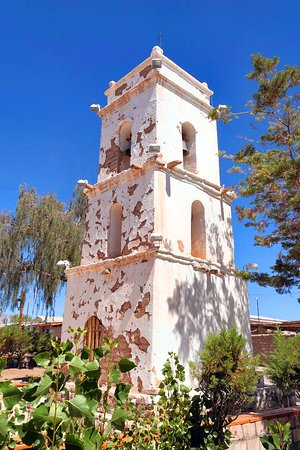 Toconao, Chile: Church tower and gardens