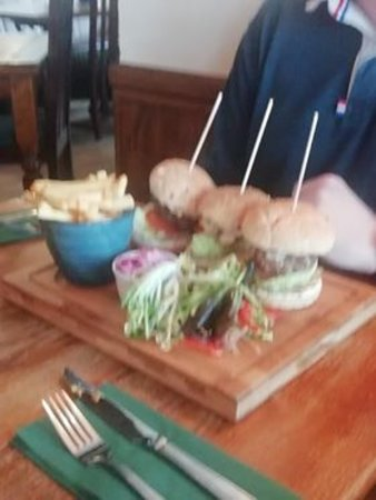 Hawarden, UK: Trio of Burgers, very tasty and very filling. For those with a bigger appetite.