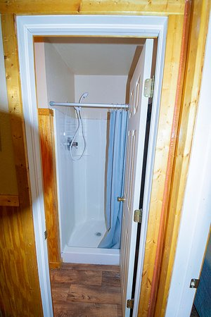 The showers are roomy and water pressure is great.