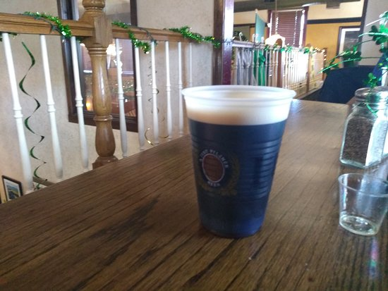 Wauconda, IL: 6oz of over chilled flat Guinness, and a med cup used as a shot glass.
