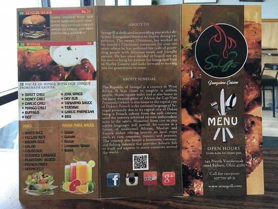 Sidney, OH: The menu as of March 2019!  Go there now!  The food and service at Sene Grill Senegalese Cuisine is exceptional!