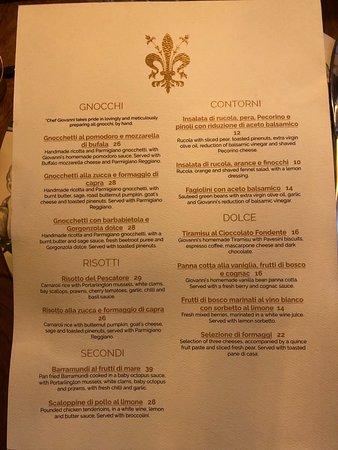 Osteria Fiorenza: Food Menu - back page