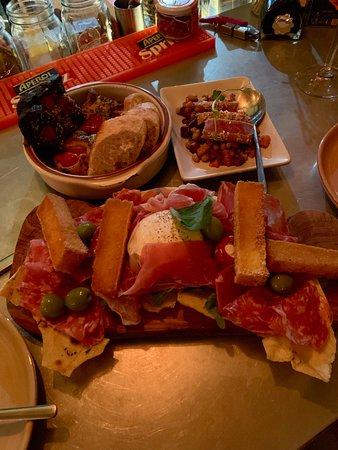Cleckheaton, UK: Tagliere di salumi Mixed Italian salumi with mozzarella, polenta chips, peperoncini ricotta, olives & carasau bread