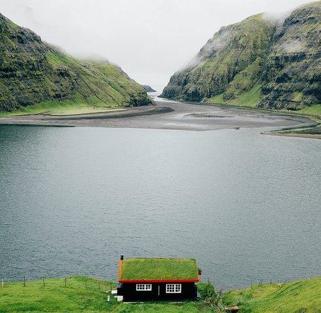 Isole Fær Øer: Green roofed house