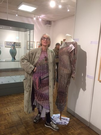 Barnoldswick, UK: Joan Murray knitwear designer; her standing stone inspired outfit in Skipton before their art gallery closed for refurbishment.  Hope you'll invite her over, the garment has great detailing.