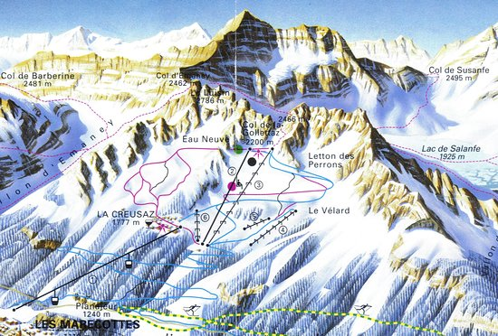 Les Marecottes, Switzerland: Carte des pistes