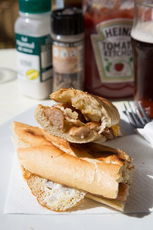 Sausage and egg baguette for breakfast