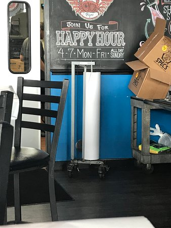 Shell Shack: Paper roll to cover the tables