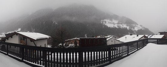 See, النمسا: A cloudy, snowy day on the ground-floor, rear balcony. Much better when the weather got better!