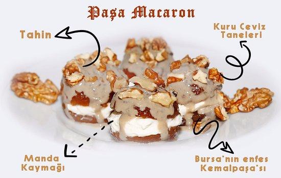 Menderes, Turkey: Paşa Macaron! Fransız Macaron'una oryantalist bakışımız. Bursa'nın enfes Kemalpaşa'sı + Manda Kaymağı + Tahin + Kuru Ceviz ile buluşuyor. Damaklarınız'da karemelize bir lezzet oturuyor.