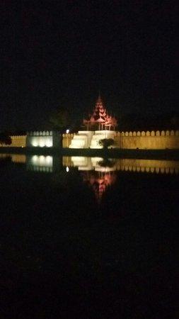 Mandalay Region, Myanmar: King Palace fort night view