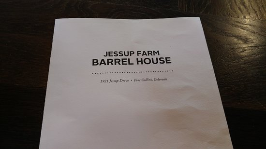 Beer And Food Menu Front Picture Of Jessup Farm Barrel House Fort Collins Tripadvisor