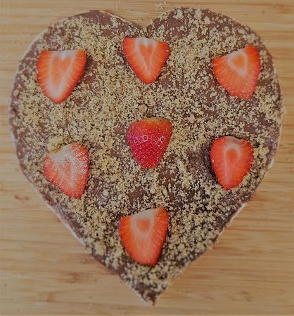 Heart Shape Sweet Pizza with Nutella and strawberries