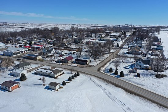 View of Mineola, Iowa from a drone.