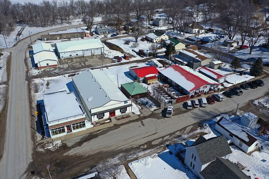 A drone view of the Mineola, Iowa business district. Post Office, Community Center, Fire Dept. and Tobey Jack's Steak House