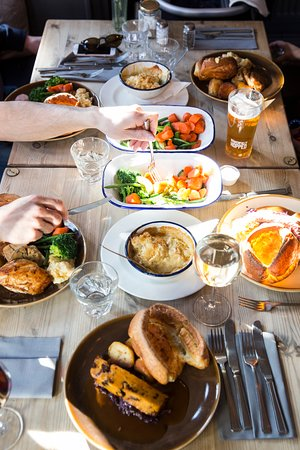 The Duck & Willow: Famous Sunday Roast spread