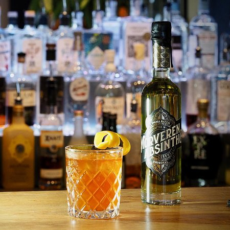 Bude, UK : Sazerac: Rye Whiskey, Morveren Cornish Absinthe, Peychauds bitters, Angostura bitters. The inspiration for our cocktail bar.