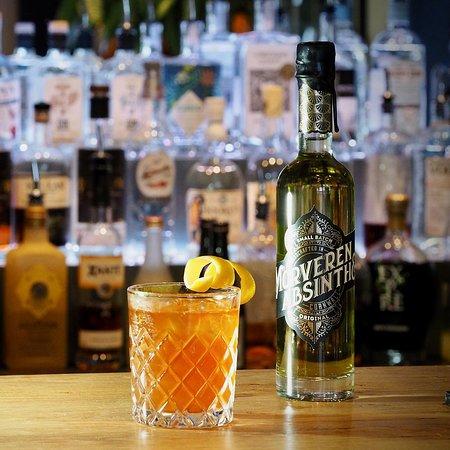 Bude, UK: Sazerac: Rye Whiskey, Morveren Cornish Absinthe, Peychauds bitters, Angostura bitters. The inspiration for our cocktail bar.