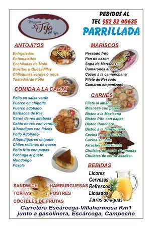 Restaurant la Teja : Alguna de las comidas del menú