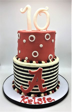two tier strip alabama cake