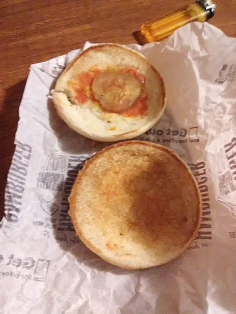 """This is the hamburger that my niece received at the McDonald's in Sophia, WV. The real question is""""Where's the beef?"""""""