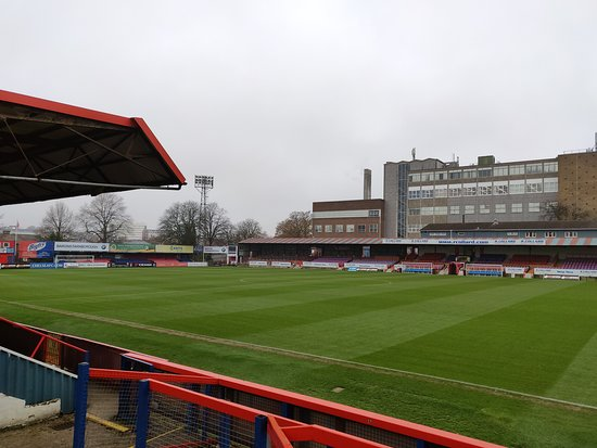 Aldershot Town FC: View from the standing away end in the South Stand, looking at the North Stand