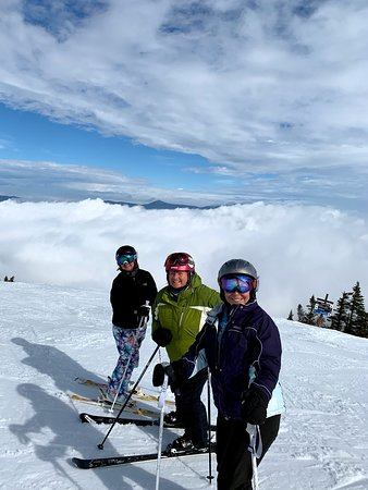 Carrabassett Valley, ME: Skiing above the clouds at Sugarloaf's King Pine. Super sun, no wind, soft groomers.