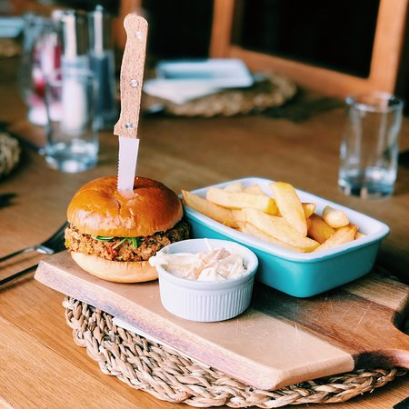 Our Vegan burger, served with hand cut chips and coleslaw