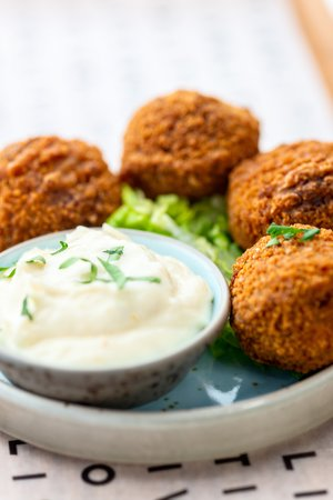 Beef croquets with a horseradish dip