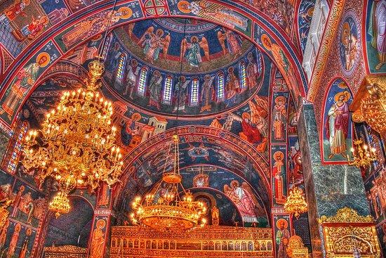 Rodos, Grčka: La chiesa di Panagia Katholiki a Kremasti, isola di Rodi.