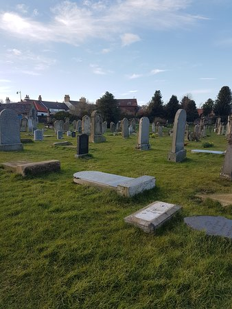 Coldingham, UK: fallen headstones