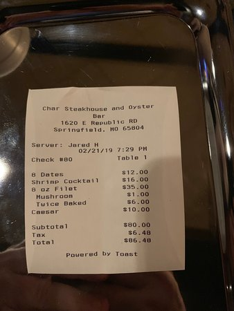 Full price bill after a 3 hour dining experience that should have been 1 1/2 hours long.  It took CHAR nearly an hour to prepare a filet mignon FOUR TIMES before they got it right.