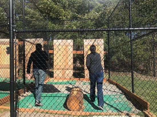 Kind of like a batting cage set up for safety.