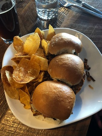 happy hour sliders with the best chips!