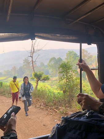 Half-Day Morning Visit to Elephant Jungle Sanctuary in Chiang Mai: View from the back of the car