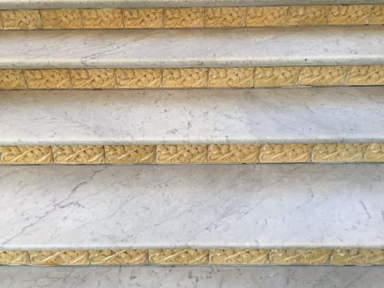 Intricate tiled designs in steps in Administration Pavilion
