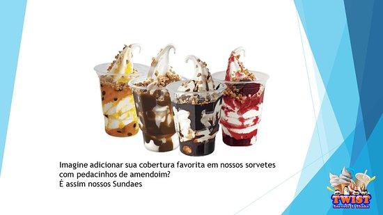 Baia da Traicao: Imagine adicionar sua cobertura favorita em nossos sorvetes com pedacinhos de amendoim?  É assim nossos Sundaes  PREÇO R$5,00 em Março/2019