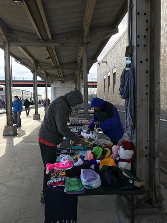 Vendors lined up alongside the train tracks in Albuquerque's Alvarado Travel Center.  No food or snacks. December 2018.