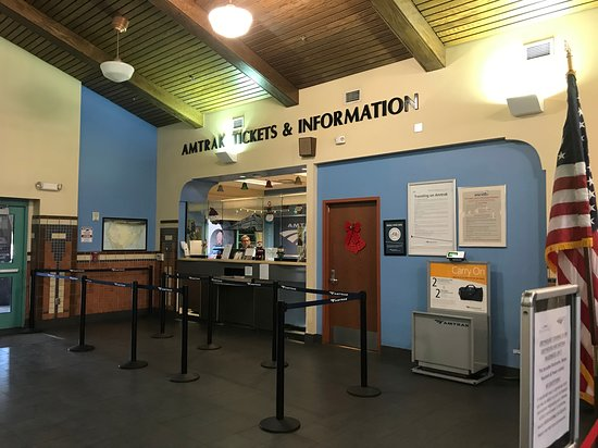 Albuquerque's Alvarado Travel Center - View of the Amtrak Ticket Window.  December 2018.