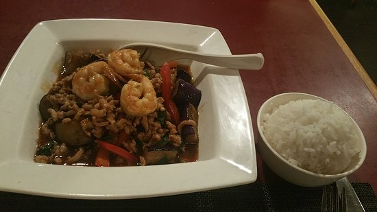 Thai Basil Restaurant: Thai Spicy Eggplant with minced chicken and shrimp