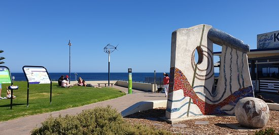Normanville Kiosk and Cafe   artwork adjacent to jetty and kiosk entrance