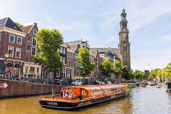 中央駅出発、アムステルダム1時間運河クルーズ、観光名所チケットオプション付き