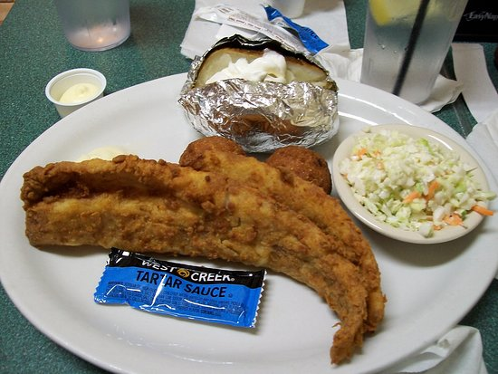 Mountain City, Tennessee: Whitefish, hush puppies, slaw and baked potato.