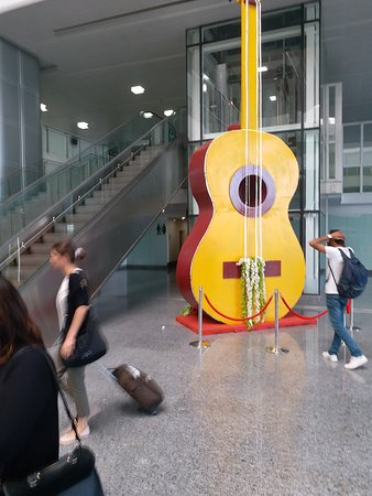 This is the picture of a very large guitar displayed at Chandigarh Airport to publicise the music of City Beautiful. Governor Amolak Rattan Kohli