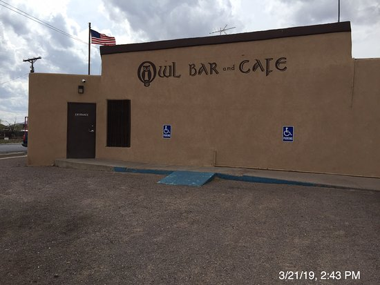 There is a wheelchair ramp into handicap spots immediately outside the door; There are large spots to park in RV and total vehicle immediately across the road and behind the bar