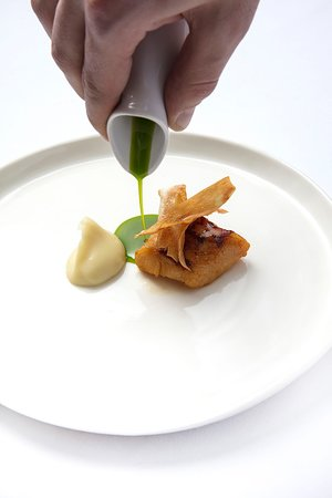 Xier: Black Cod in Caramel Miso, Asparagus, Parsnips, Duck, Perilla Infused Oil